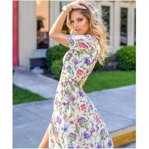 H&M Floral V neck Long dress